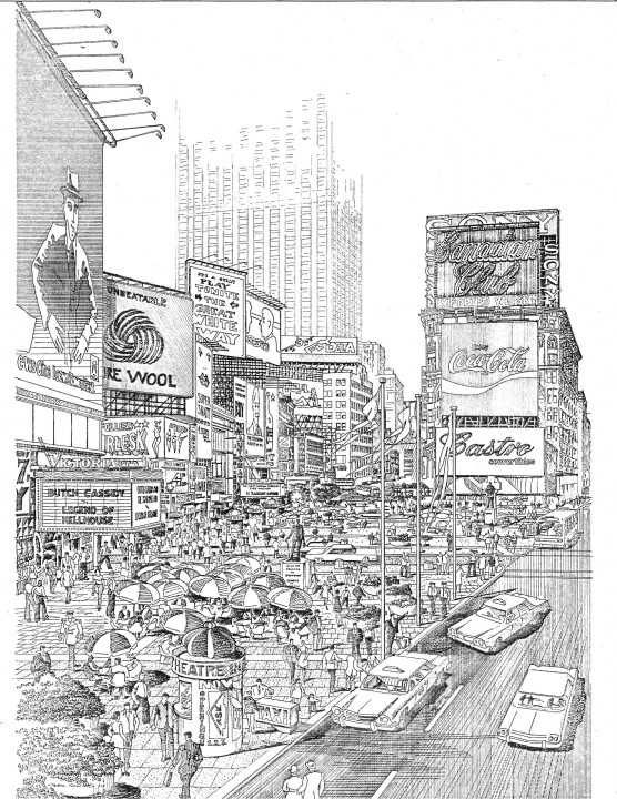 A drawing of the proposed Broadway Plaza, 1974.