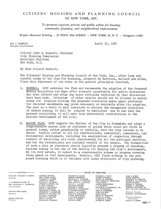 zoning in the city chpc new york the first of a three page letter from chpc to the city planning commission